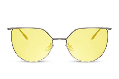 Cheapass Sonnenbrille Rund Cat-Eye Silber Gelb UV-400 Designer-Brille Metall Damen Frauen