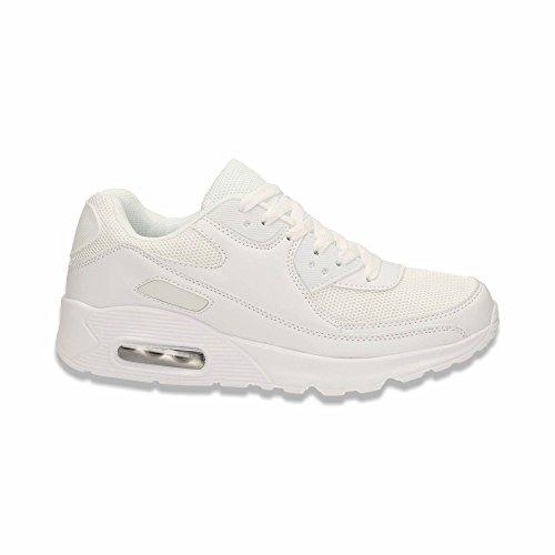 Herren Damen Sneaker Sportschuhe Lauf Freizeit Fitness Low Unisex Schuhe Weiss/Herren