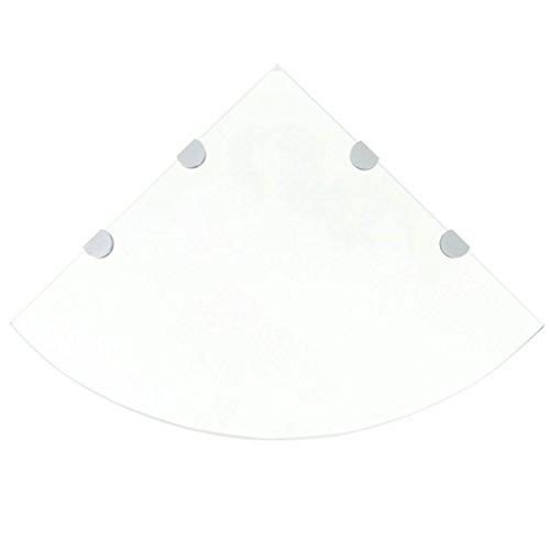 Festnight Glas Eckregal Glasregal Schweberegal mit Halterungen Max. Tragfähigkeit 15kg 45 x 45 cm Transparent