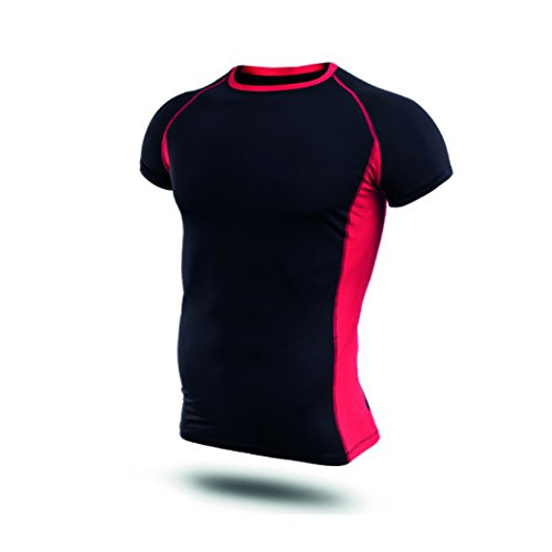 Hivexagon Gym Fitness Kleidung, Kleidung, Compression shirt, Red/Black-Large - Tight-fit Compression Shirt