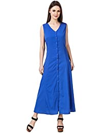 Mind The Gap American Crepe Solid Blue A-line Dress