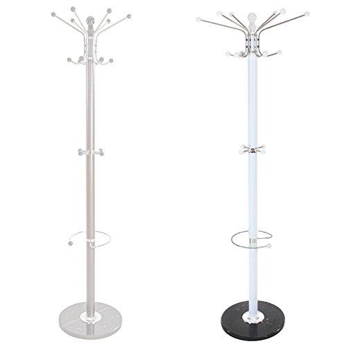 TecTake Garderobenständer Kleiderständer mit stabiler Steinplatte ca. 170 cm hoch Metall - diverse Farben (Weiß | Nr. 401034)
