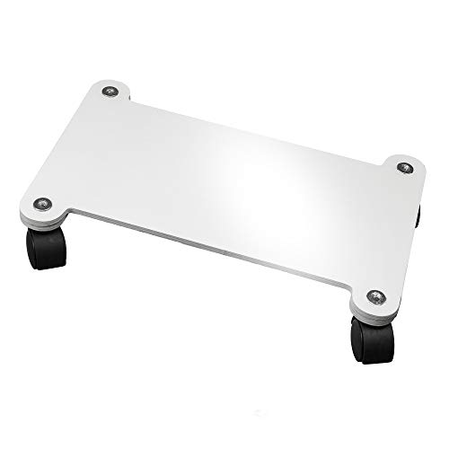 Cemab supporto per computer desktop, nuova versione rinforzata. carrello porta pc in legno con ruote (bianco lucido)