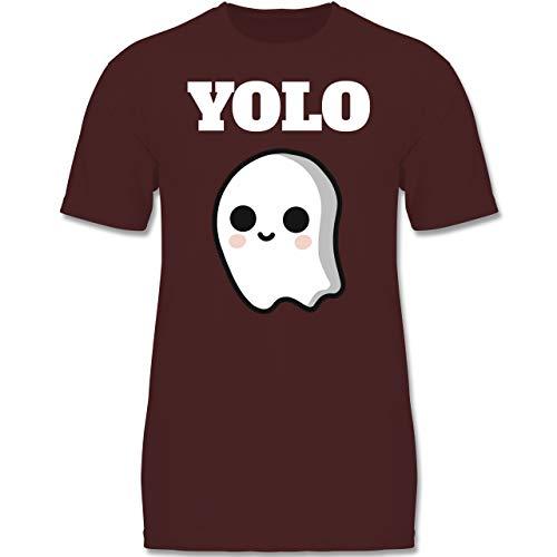 Anlässe Kinder - Geist YOLO Motiv - 134-146 (9-11 Jahre) - Burgund - F140K - Jungen T-Shirt