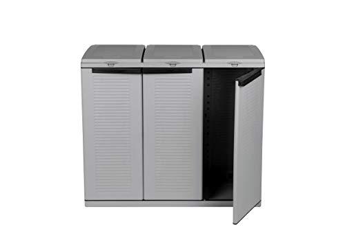 Hier passt viel rein! XXL 3-Türen Gartenschrank mit drei Halterungen für Müllsäcke und Recycling. Frontseitig und von Oben zu öffnen. In neutralem Grau. - 2