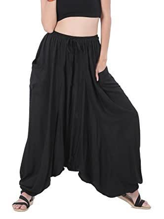 Whitewhale Men's and Women's Cotton Summer Loose Baggy Hippie Boho Gypsy Harem Pants (Black, Free Size)