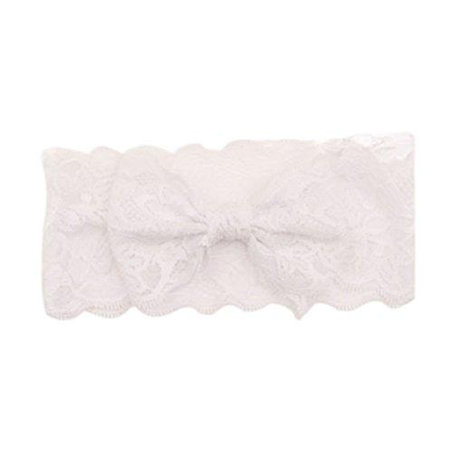Kolylong Haarband Baby Baby Spitze Haar Band Kopf Verpackung Fit 1-12years altes Mädchen) (White)
