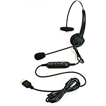 DoMoment Auricolare USB con Microfono Girevole Regolabile a cancellazione del  Rumore Auricolare Call Center Auricolare per aa3c6de2af42