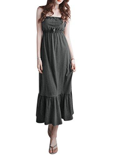 sourcingmap Damen elastische Taille geraffte Detail ungefüttert trägerlosen Korsett Kleid, Dark Gray/S (EU 36) (Details Korsett)