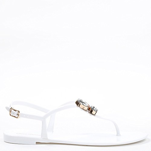 Ideal Shoes – Sandalen Flache Gummi Strass Dekor Gordana Weiß - weiß