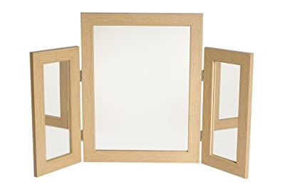 Dressing Table Mirror with Mirrored Wings - Oak Effect