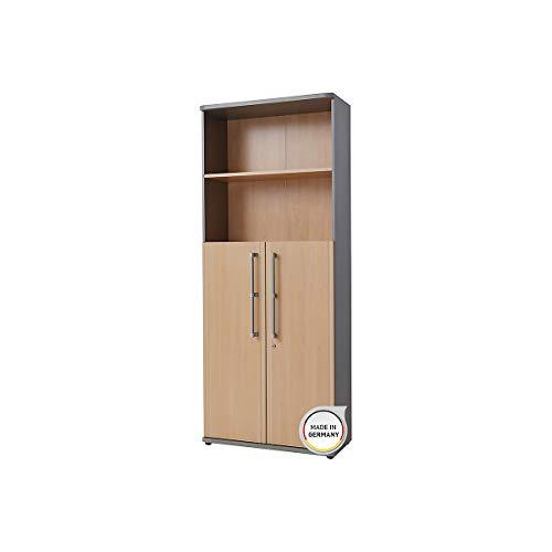 Certeo Aktenschrank Bern in Silber/Ahorn   Schrank mit abschließbaren Flügeltüren und 2 offenen Fächern   Platz für 50 Ordner   Mehrzweckschrank Anrichte Schubladenkommode -