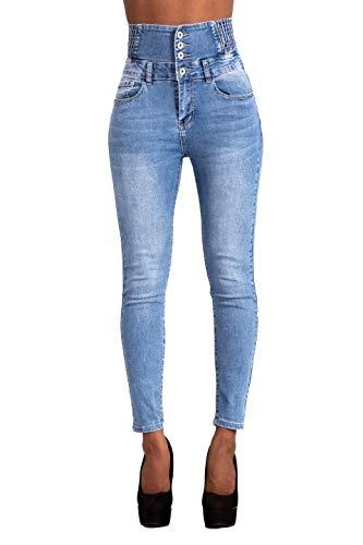 Glook Pantalon Femme Denim Jeans Slim Taille Haute Jean Stretch Pant (44, Bleu Clair)