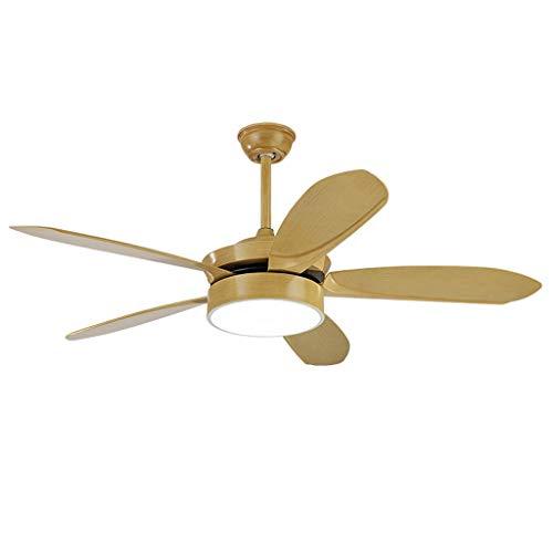 Lumière Ventilateur De Plafond, 52 Pouces Salon Simple Moderne Retro 5 Feuilles Wind Power 18W * 2 Double Color Changing Lampe Lustre Ventilateur De Plafond Mur De Contrôle