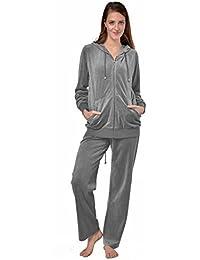 5c49332c80 Raikou Damen Micro Velours Freizeitanzug Hausanzug mit Reißverschluss  Nicki-Anzug Zweiteiliger Schlafanzug mit…