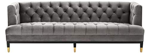 Casa Padrino Luxus Wohnzimmer Sofa Grau/Schwarz / Messingfarben 230 x 85 x H. 79 cm – Chesterfield Samtsofa
