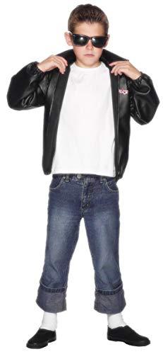 T Jacke Bird Kostüm - T-Bird Jacke Schwarz mit Grease-Logo, Large