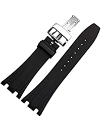 28mm Silicone Black Watch Band with Butterfly Buckle Suitable for Audemars Piguet Men's Watches (28 mm, Silver-Buckle)