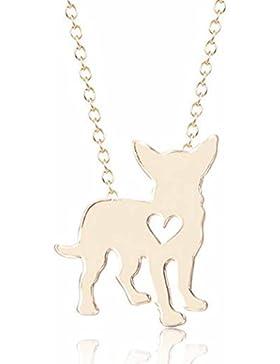 Gudeke Mini Klein Schlicht Tier Chihuahua Hund mit Love Herz Halskette Damen Kette aus Legierung für Hund-Liebhaber