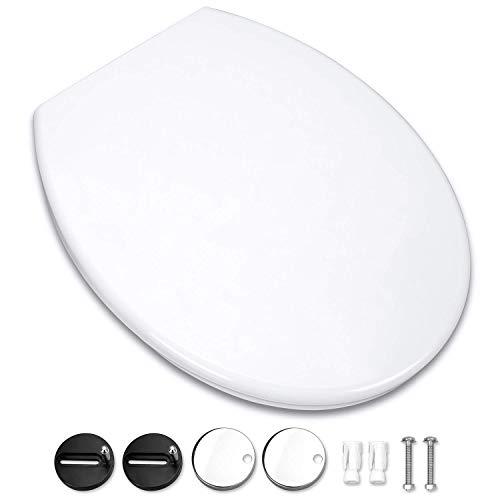 Omasi Toilettendeckel WC Sitz Oval Klodeckel mit Quick-Release-Funktion und Softclose Absenkautomatik. Klo Deckel abnehmbar Toilettensitz, Einfach zu Installieren.