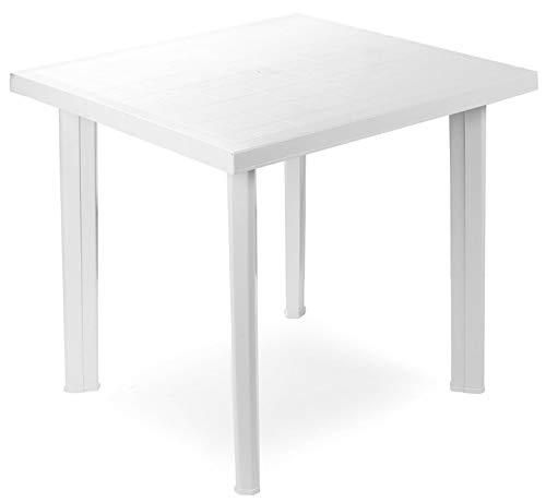 Tavoli Di Plastica Per Esterno.Tavolo Tavolino Quadrato In Resina Di Plastica Bianco Fiocco Per Esterno