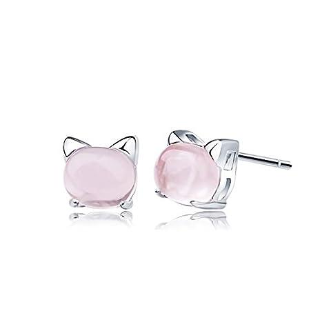 blingery Fashion Elements Argent 925plaquées rhodium Quartz Rose Chat Boucles