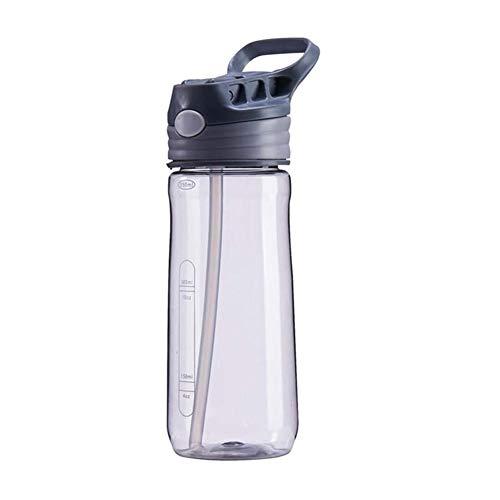ZZYLHS 550 ML Erwachsene Babyflaschen Mit Stroh Tragbare Wasser Tassen Kinder Wasserkocher Kinder Trinken Zubehör Für Mädchen Jungen Schulflaschen (Color : Casno Gray) (Mit Tumbler Stroh Mädchen)