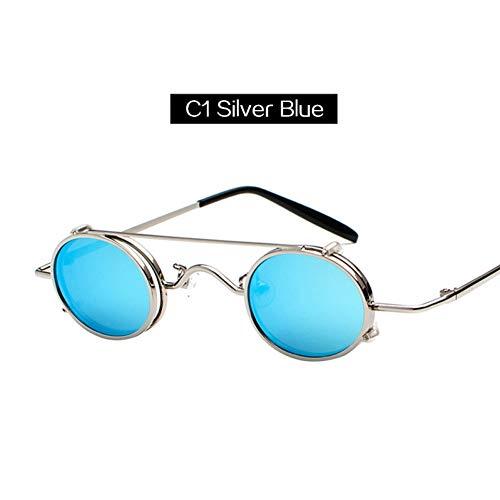 sijiaqi Unisex SonnenbrilleKaleidoskop Brille Steampunk Sonnenbrille Männer Frauen Kleine Ovale Metall Punk Sonnenbrille Doppel Objektiv Clip Auf Brille,Style 1