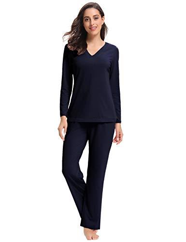 Aibrou Damen Baumwolle Pyjama Set, Zweiteiliger Langarm Schlafanzug V-AusschnittMarineblau s - Baumwolle Zwei Stück Pyjama Set