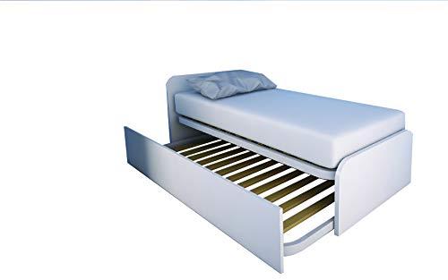 MOBILFINO CAMERETTE 964R Letto cameretta 80x190 da singolo a matrimoniale, design personalizzabile con secondo letto estraibile e sollevabile BIANCO