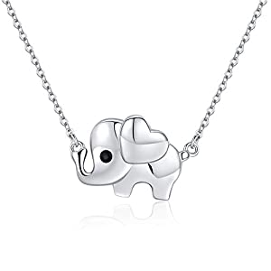 Elefant Anhänger mit Kette Mädchen Ohrringe Elefanten Kette Silber 925 Halsketten für Frauen,Schmuck Geschenk für Damen