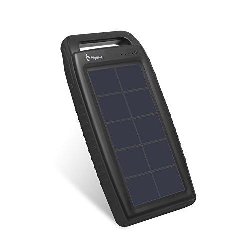 BigBlue Solar Ladegerät 10000 mAh Powerbank Externer Akku 2 USB Ports mit 6 LED Taschenlampe, Wasserdicht, ideal für Outdoor, geeignet für Iphone, Sumsung, Huawei, Tablets und mehr, in Schwarz