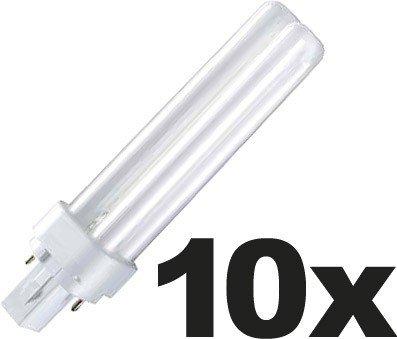 10x Osram DULUX D Energiesparlampe 2-PIN (G24d1) 13W/827 - Interna - 138mm)