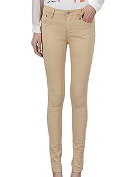 ZhuiKunA Mujer Color Sólido Largo Polainas Cintura Baja Pantalones Lápiz con Bolsillo