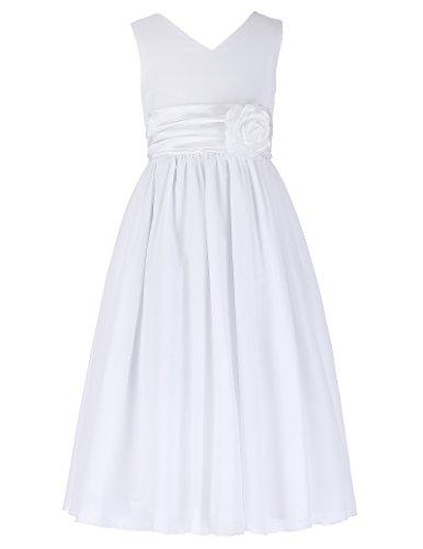 Aermellos A-linie Brautjungfer Kleid Chiffon Maedchen Kleid 10-11 jahre (Kleider 10 Mädchen)
