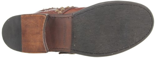 Frye jenna studded rond en cuir haut bottes mode hauteur genoux Marron - Marron foncé