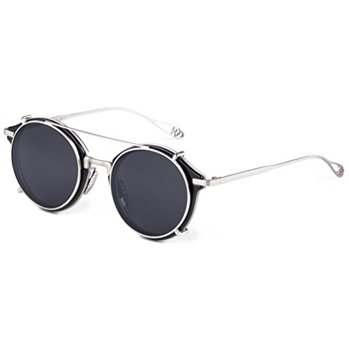Dollger Double Lens Flip Dual Fashion Sunglasses Teashades Myopia Can Be Made (Schwarz+Silber)