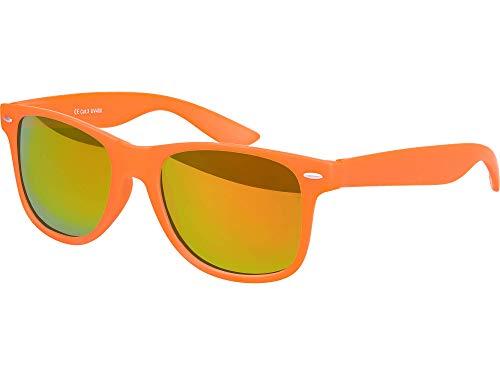 Balinco Hochwertige Nerd Sonnenbrille Rubber im Wayfarer Stil Retro Vintage Unisex Brille mit Federscharnier - 96 verschiedene Farben/Modelle wählbar (Orange - Rot/Orange verspiegeltverspiegelt)