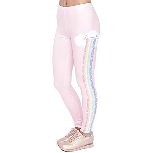 ropa kawaii para los mas guays POAONOSS Pantalones de yoga diseño elegante Legging mujer lluvia Rain Fashion Kawaii Leggings cintura alta pantalones de mujer - lga45877, Talla única