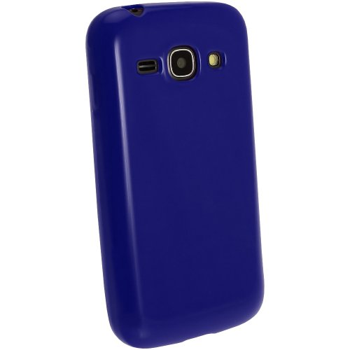 igadgitz Blau Glänzend Dauerhafte TPU Gel Schutzhülle Etui Case Tasche Hülle für Samsung Galaxy Ace 3 S7270 S7272 S7275 Android Smartphone + Displayschutzfolie