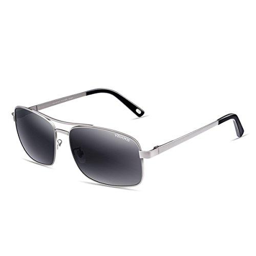 KOMNY 3073 polarisierenden Sonnenbrillen, männliche geschäft Fahren Brillen, Sonnenbrillen, Brille und Waffe Frames,Progressive Gray Silber Rahmen