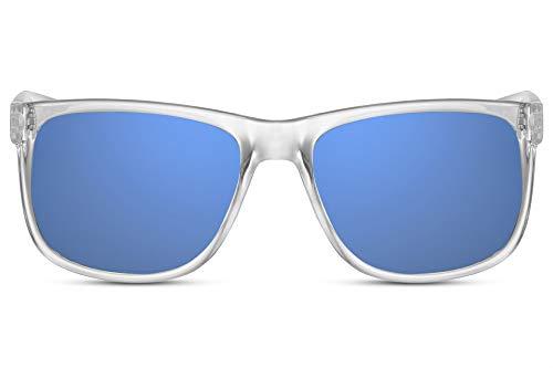 Cheapass Sonnenbrille Verspiegelt Transparent Blau UV-400 Sport-lich Plastik Herren Männer