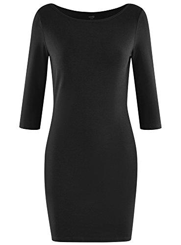 oodji Ultra Damen Jersey-Kleid Basic Schwarz (2900N)