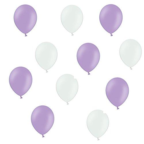 50 x Premium Luftballons je 25 Lavendel / Flieder & Weiß - ca. Ø 28cm Made in Europa 50 Stück - Ballons als Deko, Party, Fest, Geburt, Hochzeit, Geburtstag - für Helium geeignet - twist4