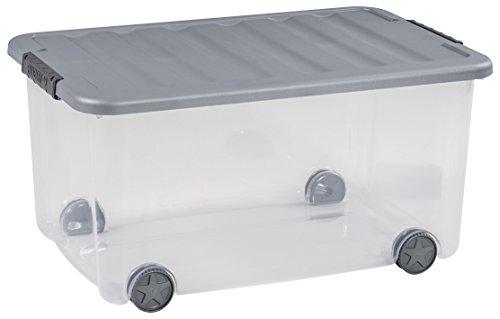 Allibert 224071 Boîte à Roulettes Scotti, Plastique, Transparent/Gris, 59 x 38,8 x 30 cm