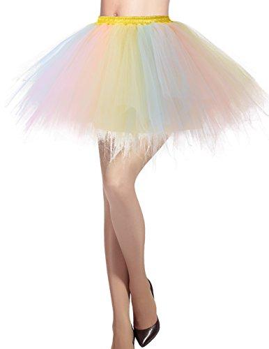 llrock 50er Rockabilly Petticoat Tutu Unterrock Kurz Ballett Tanzkleid Ballkleid Abendkleid Gelegenheit Zubehör Champagne-Light Pink M (Billige Tutus Für Frauen)