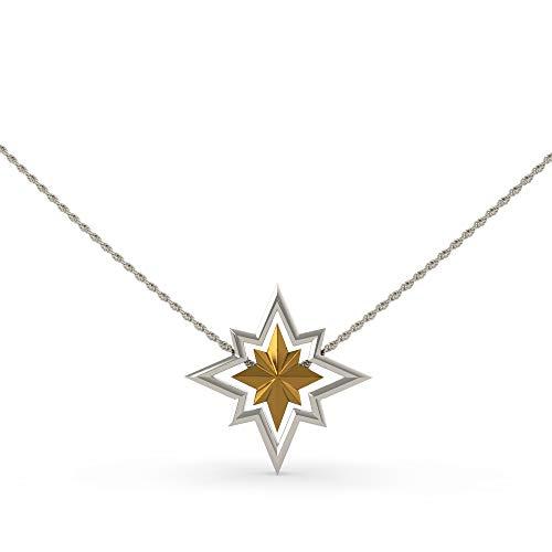 Nexthops Halskette Captain Marvel Copslay Design in Zinklegierung abnehmbar Farbe Gold und Silber Zubehör Kostüm Film Geschenk für Unisex Erwachsene (Silber-Anhänger: 43 mm Gold: 25 mm)