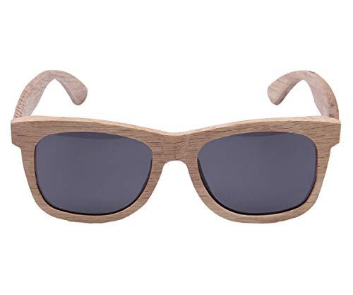 LY4U de madera para hombre y gafas de sol para mujer, gafas Vintage, gafas de sol flotantes con caja de bambú (Gris)