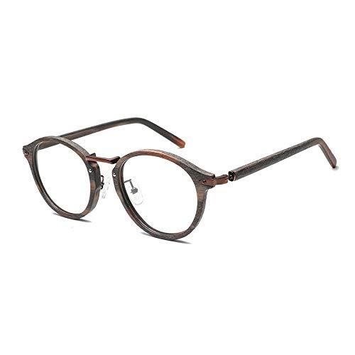 DING-GLASSES Gläser Holzrahmen Korn Retro Runde Brillengestell Nachahmung Holzplatte Runde Rahmen Männer Und Frauen Rahmengläser (Color : C99)
