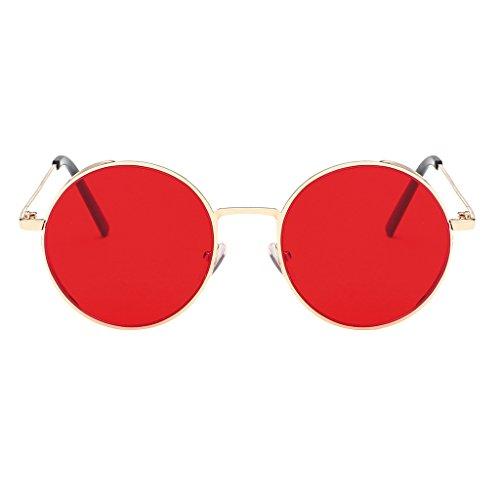IPOTCH Vintage Runde Sonnenbrille Polarisiert Retro Sunglasses Steampunk Brille mit Metallrahmen - rot